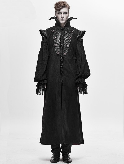 Devil Fashion Black Retro Gothic Vampire Long Waistcoat for Men