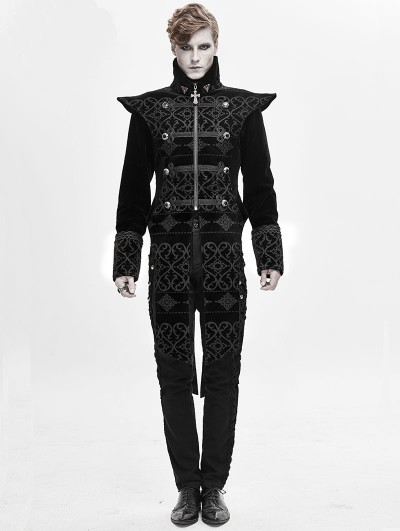 Devil Fashion Black Retro Gothic Velvet Party Tail Coat for Men