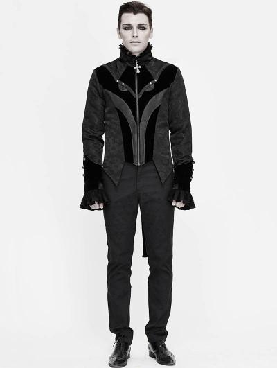 Devil Fashion Black Retro Gothic Jacquard Velvet Party Swallow Tail Coat for Men