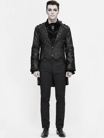 Devil Fashion Black Retro Gothic PU Leather Party Tail Coat for Men