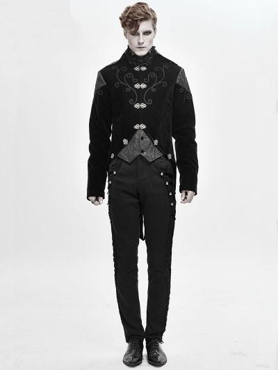Devil Fashion Black Velvet Retro Gothic Swallow Tail Coat for Men