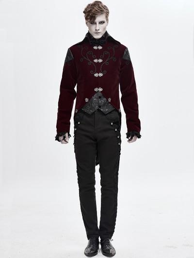 Devil Fashion Wine Red Velvet Retro Gothic Swallow Tail Coat for Men