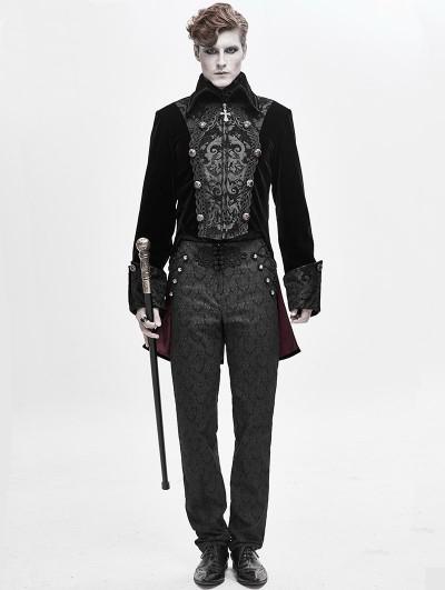 Devil Fashion Black Velvet Retro Gothic Party Swallow Tail Coat for Men