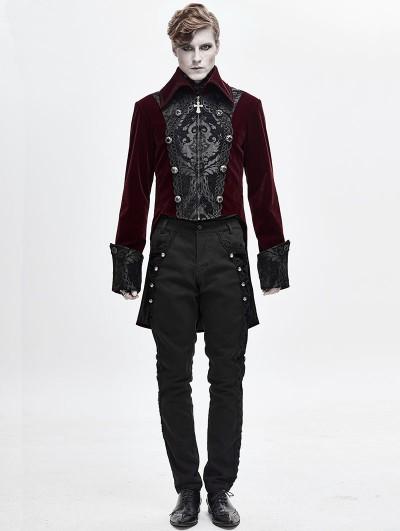 Devil Fashion Wine Red Velvet Retro Gothic Party Swallow Tail Coat for Men