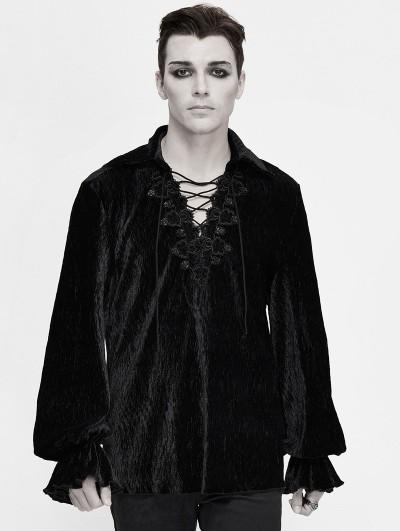 Devil Fashion Black Vintage Gothic Loose Long Sleeve Shirt for Men
