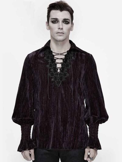 Devil Fashion Dark Vintage Gothic Loose Long Sleeve Shirt for Men