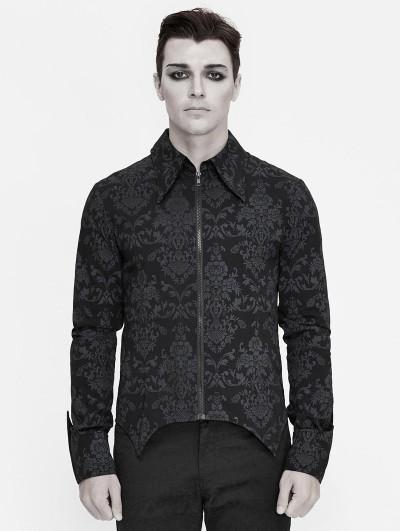 Devil Fashion Black Vintage Pattern Gothic Long Sleeve Shirt for Men