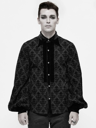 Devil Fashion Black Dark Gothic Vintage Pattern Long Sleeve Shirt for Men