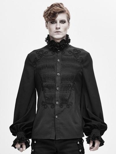 Devil Fashion Black Retro Gothic Palace Party Long Sleeve Shirt for Men