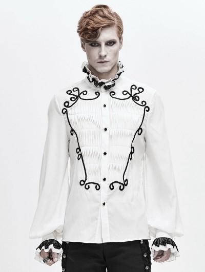 Devil Fashion White Retro Gothic Palace Party Long Sleeve Shirt for Men