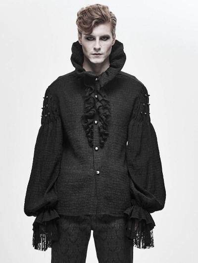 Devil Fashion Black Retro Gothic Palace Long Sleeve Shirt for Men