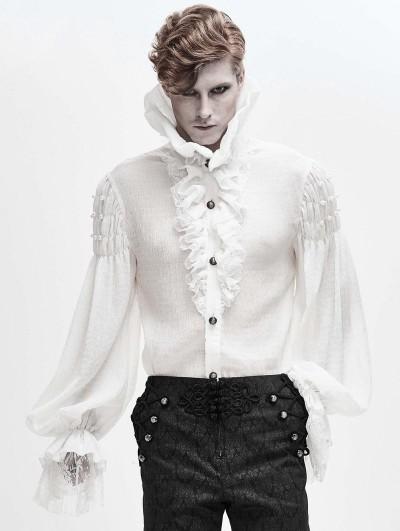 Devil Fashion White Retro Gothic Palace Long Sleeve Shirt for Men