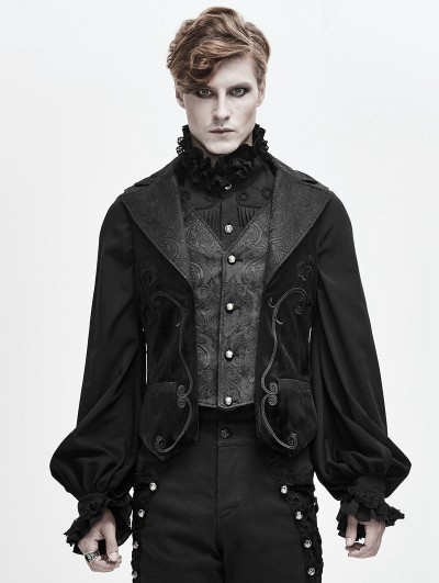 Devil Fashion Black Retro Gothic Jacquard Velvet Waistcoat for Men