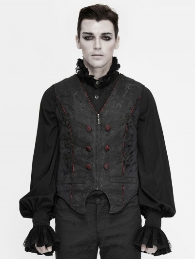 Devil Fashion Black Retro Gothic Jacquard Party Waistcoat for Men