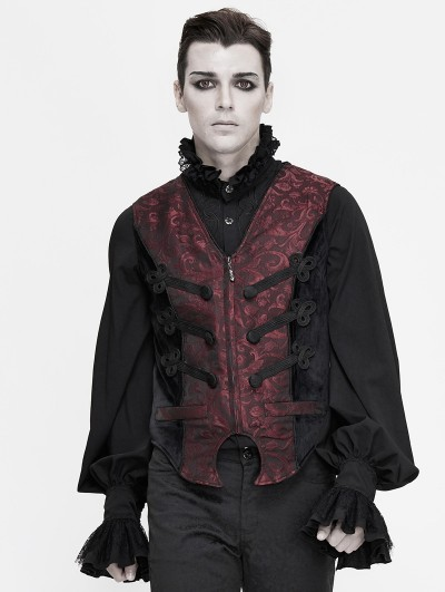 Devil Fashion Dark Red Retro Gothic Jacquard Party Waistcoat for Men