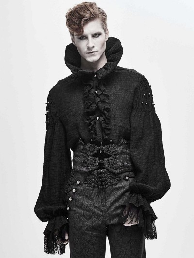 Devil Fashion Black Retro Gothic Velvet Lace Applique Waistband for Men