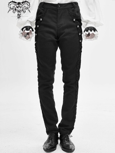 Devil Fashion Black Vintage Gothic Party Pants for Men