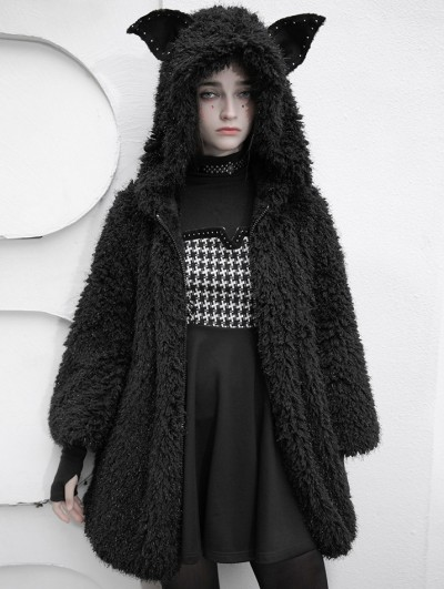 Punk Rave Black Street Fashion Cute Gothic Grunge Casual Warm Hooded Coat for Women