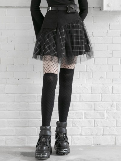 Punk Rave Black and White Street Fashion Grunge Gothic Plaid Gauze Mini Skirt