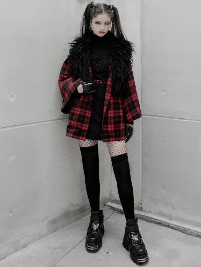 Punk Rave Black and Red Plaid Street Fashion Grunge Gothic Loose Coat for Women