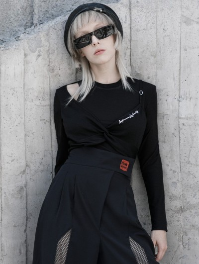 Punk Rave Black Street Fashion Gothic Grunge Fake Two-Pieces Hollowed-out Long Sleeve T-Shirt for Women