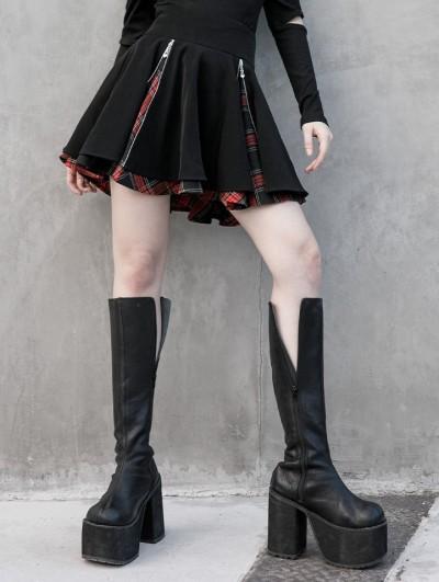 Punk Rave Black and Red Plaid Street Fashion Gothic Grunge Punk Short Skirt
