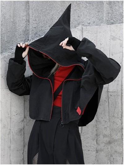 Punk Rave Black Street Fashion Gothic Grunge Loose Hooded Short Coat for Women
