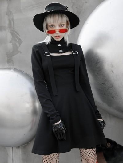 Punk Rave Black Street Fashion Gothic Grunge Long Sleeve Short Dress