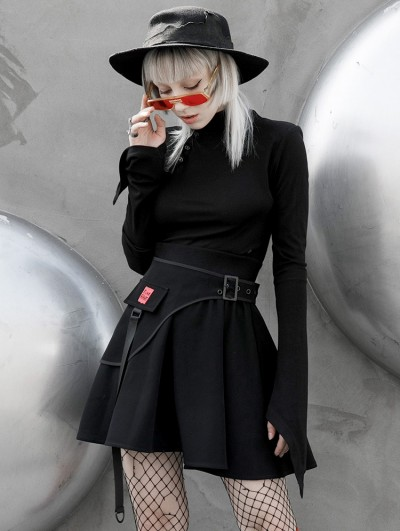 Punk Rave Black Gothic Simple High Neck Long Trumpet Sleeve T-Shirt for Women