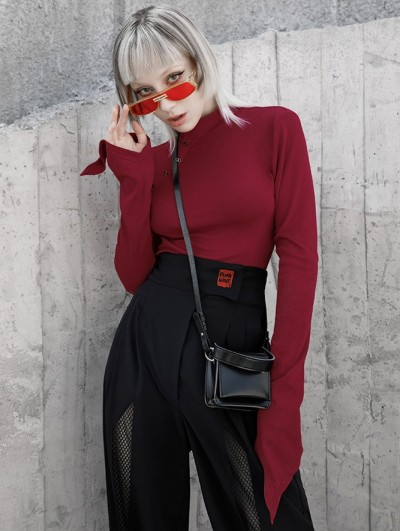 Punk Rave Red Gothic Simple High Neck Long Trumpet Sleeve T-Shirt for Women