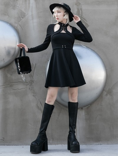 Punk Rave Black Street Fashion Gothic Grunge Sexy Hollowed-out Long Sleeve Short Dress