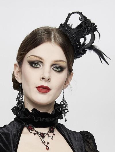 Devil Fashion Black Gothic Queen Feather Crown Headdress