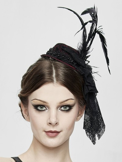 Devil Fashion Black and Red Gothic Party Flower Feather Hat Headdress