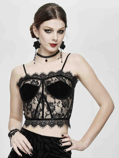 Devil Fashion Black Sexy Gothic Perspective Lace Corset Top for Women