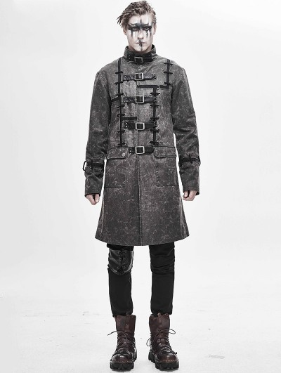Devil Fashion Gray Daily Wear Gothic Punk Do Old Style Long Coat for Men