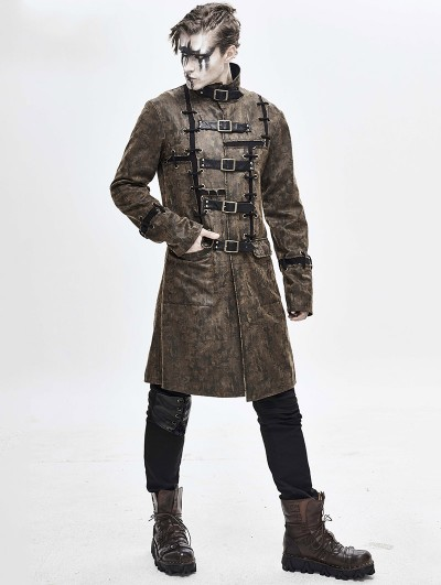 Devil Fashion Brown Daily Wear Gothic Punk Do Old Style Long Coat for Men