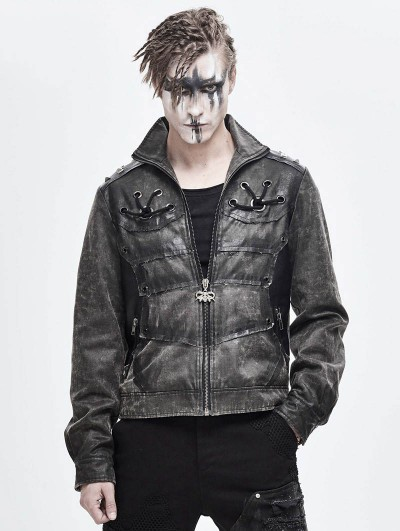 Devil Fashion Gray Daily Wear Gothic Punk Do Old Style Rivet Short Coat for Men