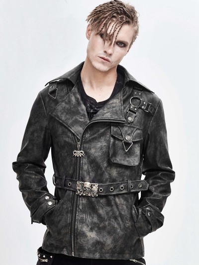 Devil Fashion Gray Gothic Punk Do Old Style Short Coat for Men