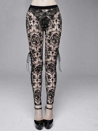 Devil Fashion Black Sexy Vintage Gothic Transparent Legging for Women