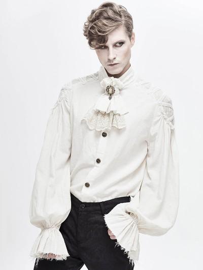 Devil Fashion White Gothic Vintage Jacquard Long Lantern Sleeve Shirt for Men