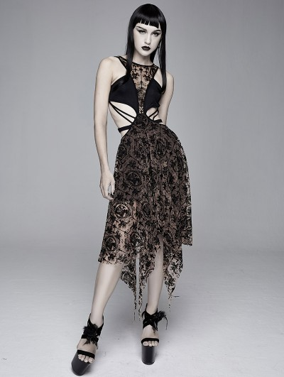 Devil Fashion Black and Brown Vintage Pattern Sexy Gothic Hollow-out Irregular Dress