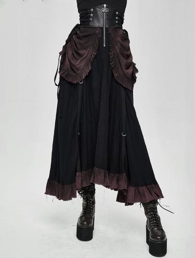 Devil Fashion Black Steampunk High Waist Long Skirt
