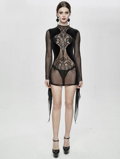 Devil Fashion Black Sexy Gothic Transparent Long Sleeve Mini Dress
