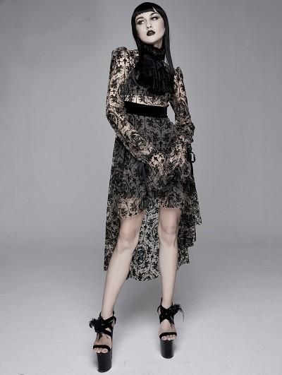 Devil Fashion Vintage Pattern Sexy Gothic Long Sleeve High-Low Dress