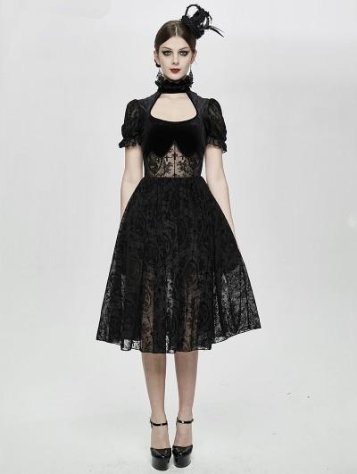 Devil Fashion Black Vintage Elegant Gothic Short Party Dress