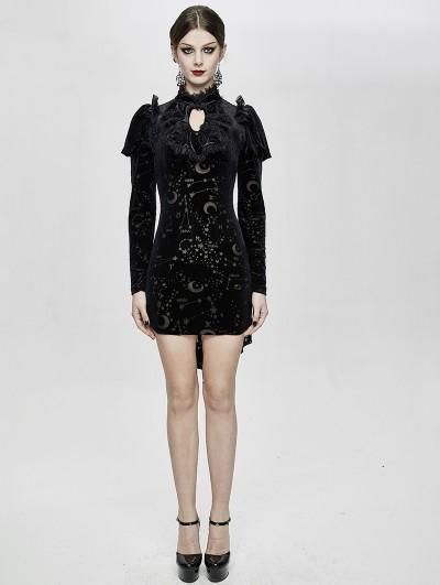 Devil Fashion Black Gothic Moon Star Velvet Long Sleeve High-low Dress