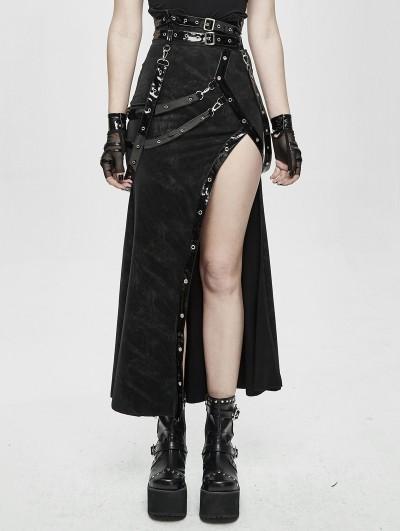 Devil Fashion Black Sexy Gothic Punk High Split Long Skirt