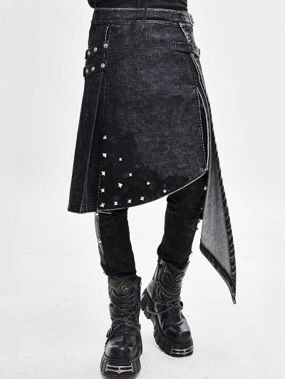 Devil Fashion Black Gothic Punk Rivet Do Old Style Irregular Half Skirt for Men