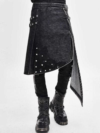 Devil Fashion Black Gothic Punk Rivet Do Old Style Irregular Half Skirt for Men