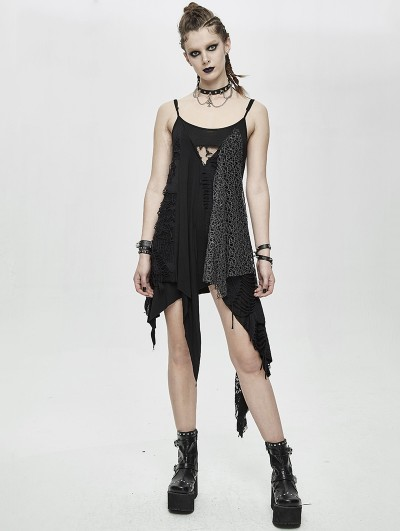Devil Fashion Black Gothic Punk Asymmetric Sleeveless Daily Wear Dress